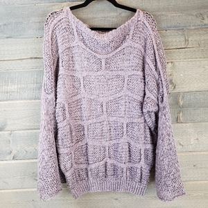 Entro Boat Neck Sweater Bell Sleeves Purple